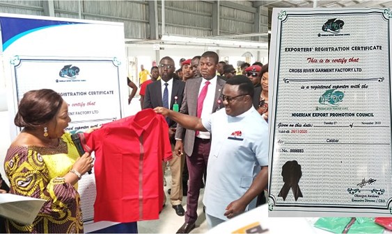 Cross River garment factory receives expoert licence for Made in Nigeria clothing