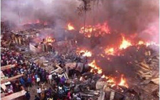 Kenya's largest open Market in Nairobi burn down