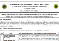 TENDER TITLE: COMMERCIALIZATION OF NPDC'S NON-OIL AND GAS ASSETS
