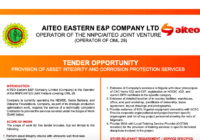 TENDER OPPORTUNITY PROVISION OF ASSET INTEGRITY AND CORROSION PROTECTION SERVICES