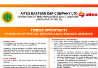 TENDER OPPORTUNITY PROVISION OF PIPELINE REPAIRS & MAINTENANCE SERVICES