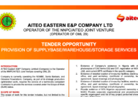 TENDER OPPORTUNITY PROVISION OF SUPPLY BASE/ WAREHOUSE/ STORAGE SERVICES